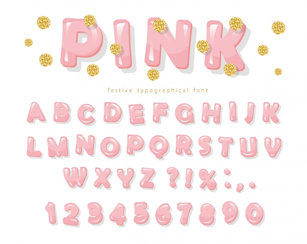 ピンクの光沢のあるフォント