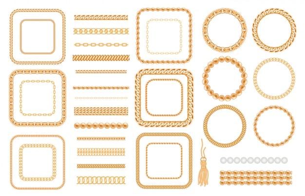 Набор золотых цепей и веревок, изолированных на белом