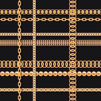 金の鎖と黒の豪華なシームレスパターンのビーズ