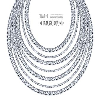 Серебряные цепочки ожерелье абстрактный фон.