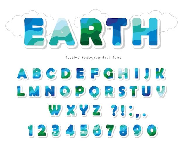 Земля пейзаж современного шрифта