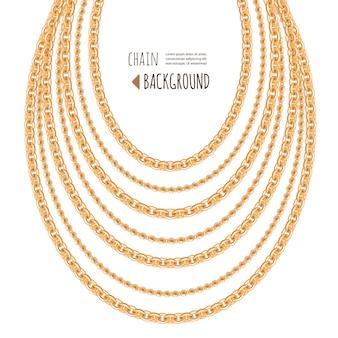 ゴールドチェーンネックレスの抽象的な背景