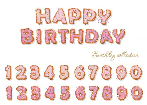 誕生日のデザインの甘い手描き数字セット。