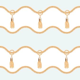 Золотые цепочки с кисточками бесшовные модели