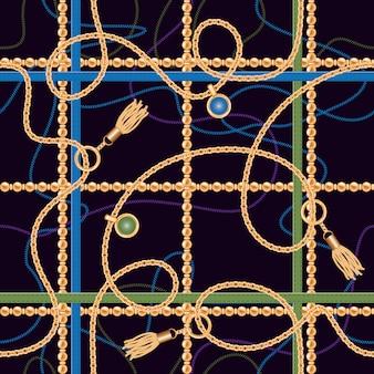 Бесшовный фон с цепями, ремнями, подвеской и кистями.