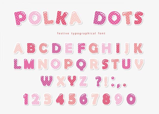 Милый шрифт в горошек пастельно-розового цвета.