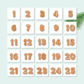 クリスマスアドベントカレンダー、装飾された型のジンジャーブレッドクッキー。