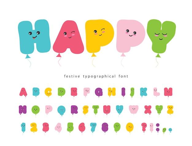 Воздушный шар комический шрифт для детей.