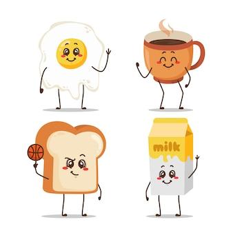 朝食キャラクターセット漫画似顔絵絵文字表現毎日の活動再生バスケットボールボクシングジムスケートボード読書本カレッジライド歌う音楽ハッピーセルフィー恋に落ちる