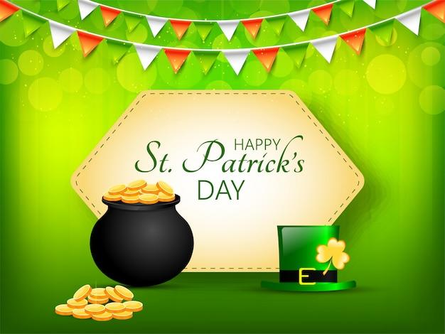 幸せな聖パトリックの日に緑色の背景で