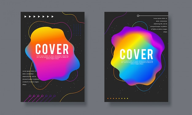 ビジネスと年次報告書のカバーデザインパンフレットのセット