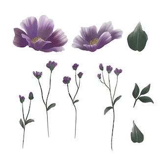 紫の花と水彩風の葉の要素