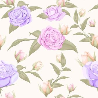 紫ピンクのバラのシームレスなパターンデザイン