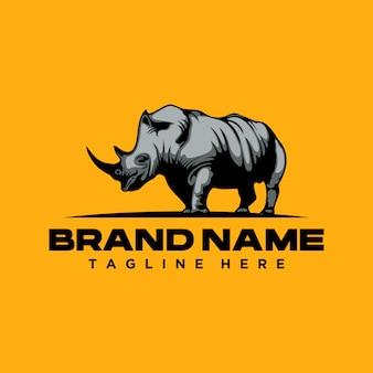 Сильный шаблон логотипа носорог