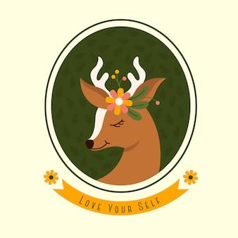 サークルフレームベクトルイラストでかわいい鹿の頭