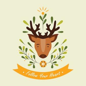 花の要素と引用ベクトルイラストかわいい鹿の頭
