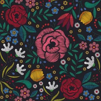 刺繍の背景花