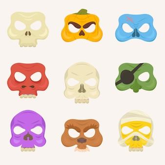 孤立したハロウィンマスクのセット。
