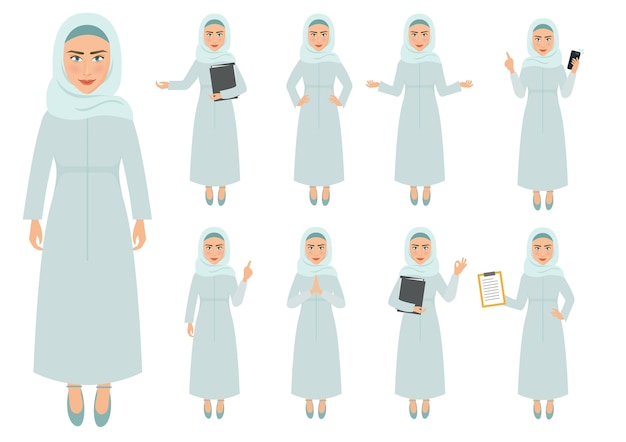 ビジネスベクトルの文字ムスリムの女性のセット