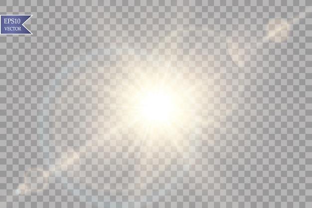 Вектор прозрачный эффект солнечного света специальный объектив вспышки света. солнечная вспышка с лучами и прожектором