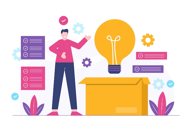 ビジネスの男性とアイデアフラットイラスト