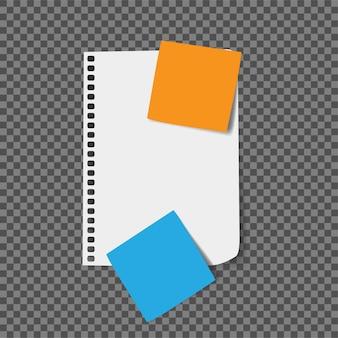 紙のメモ帳とステッカーのベクトル図
