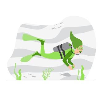 Подводное плавание векторные иллюстрации.