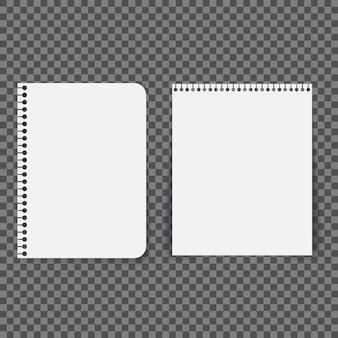 空白の紙は、透明な背景にスパイラルで接続されています。