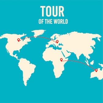 世界地図ツアーのベクトル図です。