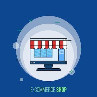 Магазин электронной коммерции вектор. современная плоская концепция дизайна.