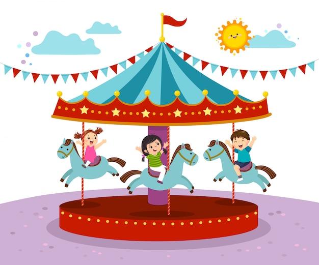 メリーゴーランドで遊ぶ子供たちのベクトルイラストは、遊園地でラウンドします。