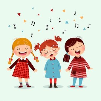 楽器のアコーディオンと歌う少女で遊ぶかわいい男の子。