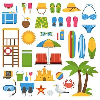 夏のビーチアイテムコレクション。夏の海の休暇のベクトルアイコンを設定。