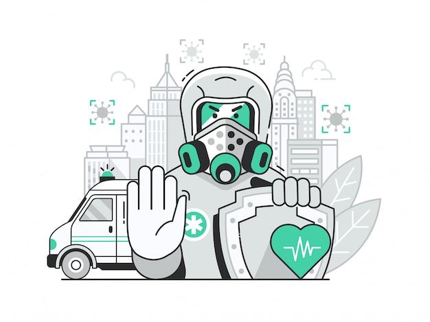 Концепция пандемии коронавируса в карантине города с эпидемиологом в костюме биологической опасности.