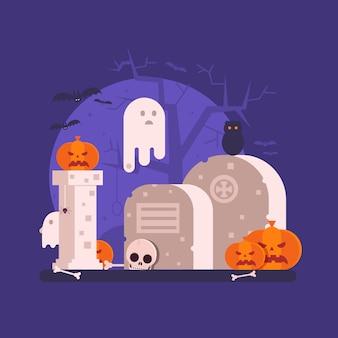 幽霊とハロウィーンのシーン