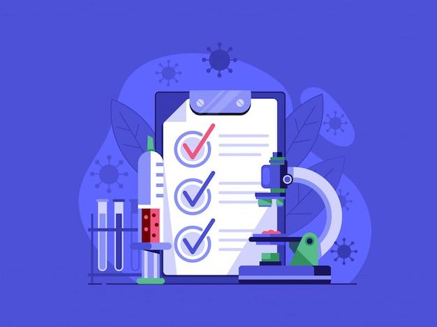 Иллюстрация положительный тест на вирус. концепция бактериологического лабораторного тестирования с микроскопом, инъекцией и препаратами.