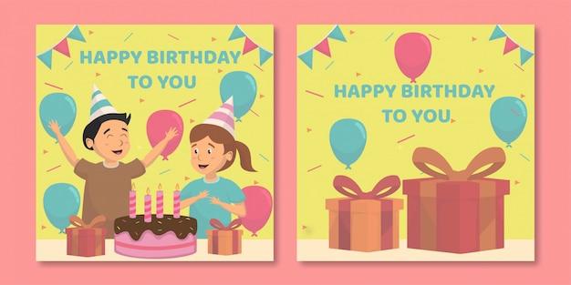 幸せな誕生日グリーティングカードテンプレート。印刷準備完了
