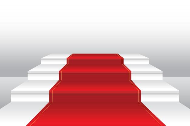 Красный ковер на лестнице реалистичные иллюстрации