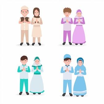 イスラムの孤立した白い背景でドラースで笑顔の子供たちのイラストのセット