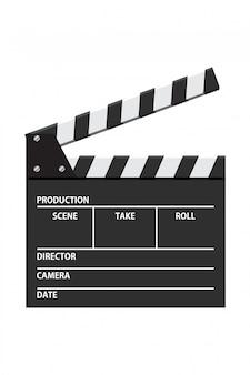 映画クラッパーボードベクトルイラスト。ビデオアイコン。映画産業