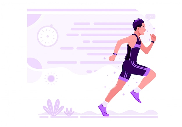 実行中の男性運動スポーツベクトルイラストフラットデザイン。紫色の制服を着た男がマラソンランを練習しています。