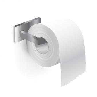 浴室のロールホルダーからトイレットペーパーを現実的なクローズアップ