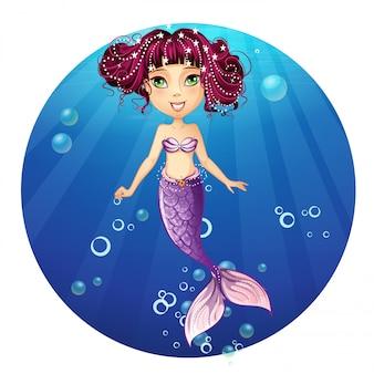 ピンクの髪と緑の目を持つ人魚のイラスト