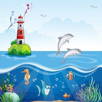 Детская иллюстрация маяка и морских дельфинов