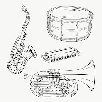 Коллекция ручного рисунка с музыкальным инструментом