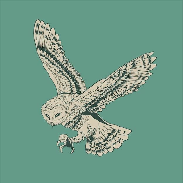 フクロウ手描きベクトル
