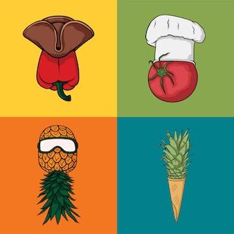 Симпатичный набор символов значка фруктов