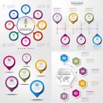 ビジネスインフォグラフィックスのデザインテンプレートのイラストのセット