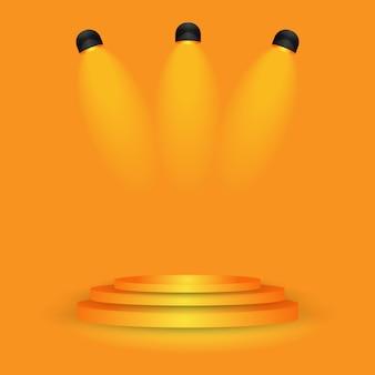 スタジオグラデーションウォールルームにオレンジ色の舞台