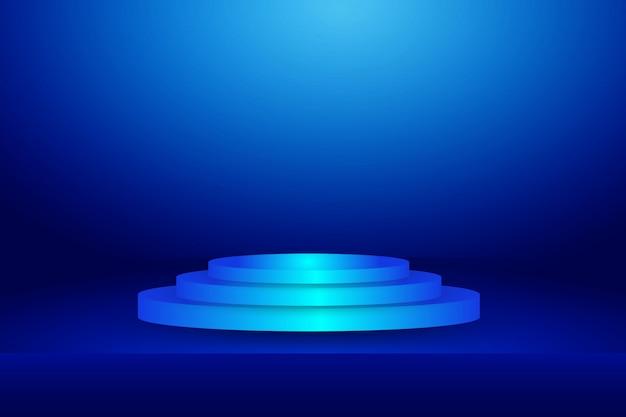 水平スタジオグラデーション壁部屋、モダンなインテリアの背景にブルーのステージ